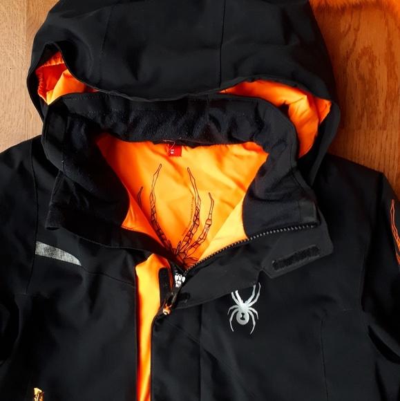 76f99e24f Spyder boys ski jacket black orange